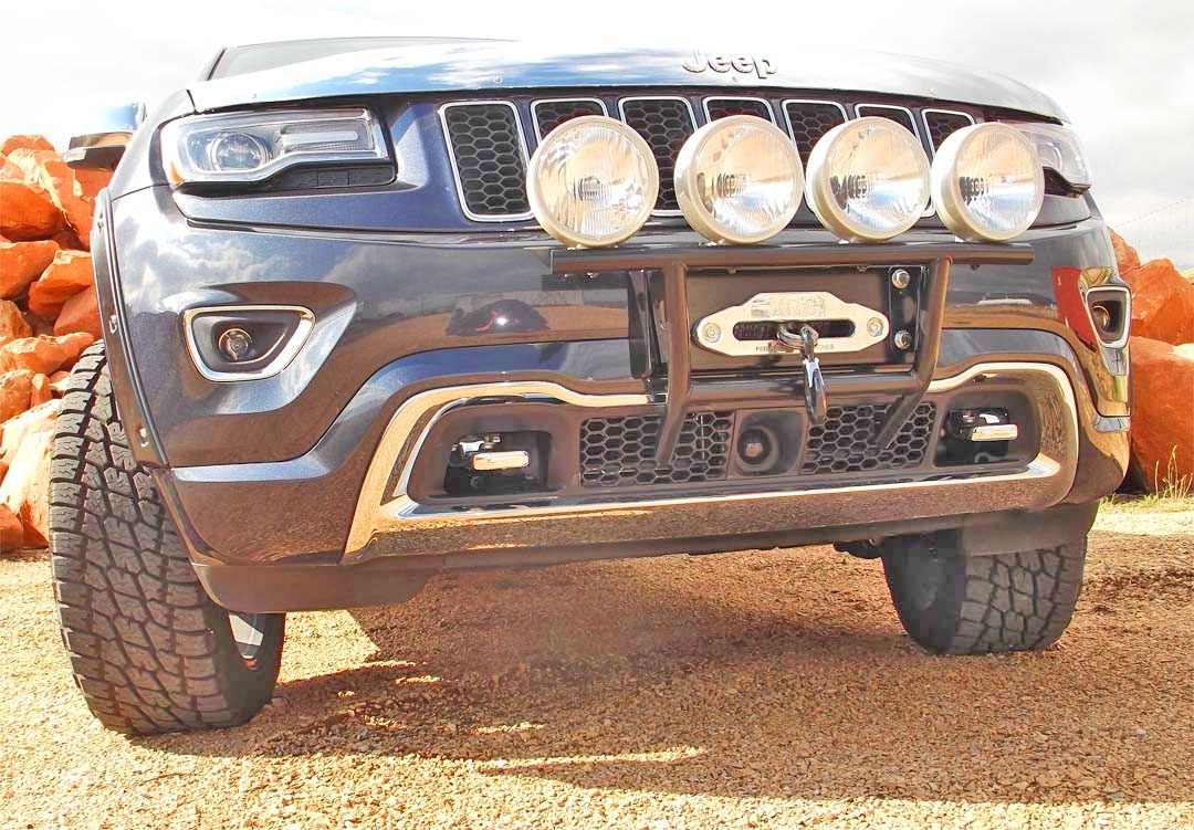 2014 jeep grand cherokee bumper kits wk2 with the brush bar kit an external push bar and light mount which really dresses up the front of your jeep aloadofball Image collections